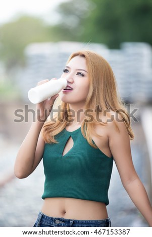 Asian girl milk