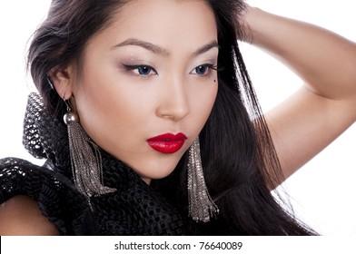 pretty asian model in green dress