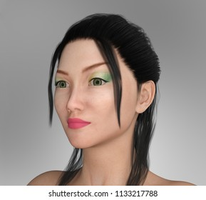 Pretty Asian woman with Makeup Computer generated 3D illustration
