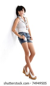 pretty asian woman sort short pant on white background