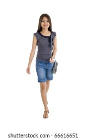 pretty asian woman walking, isolated on white background