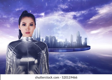Pretty asian woman wearing latex jumpsuit. Inside cyber world concept