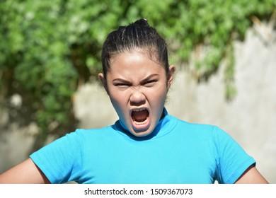 A Pretty Asian Woman Yelling
