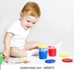 pretty baby paint on white background