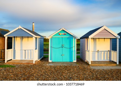 Pretty beach huts at Calshot on the edge of the New Forest near Southampton in Hampshire