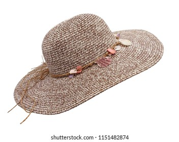 Pretty beautiful beach hat isolated on white background.