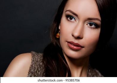 pretty beauty woman on black background