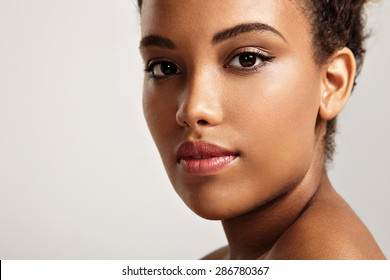 pretty black woman's portrait. ideal skin