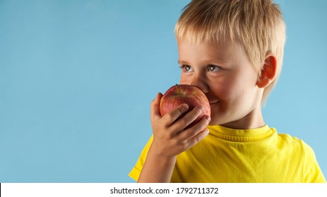 A pretty blond boy sniffs a red Apple and smiles against a blue background. The concept of healthy eating. Copy space.