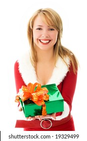 pretty blond girl giving a Christmas present to us