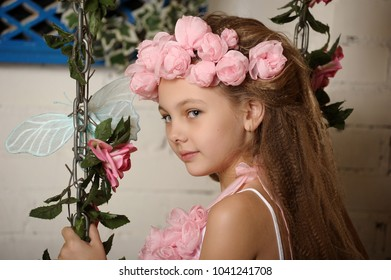 Bonita springs images stock photos vectors shutterstock pretty blond girl in a pink wreath of flowers mightylinksfo