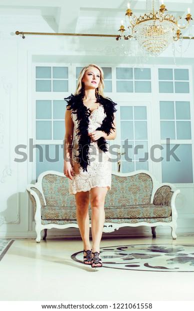 Pretty Blond Woman Rich Luxury House Stock Photo Edit Now 1221061558