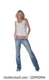 pretty blond women on white background. Weared in jeans and white shirt