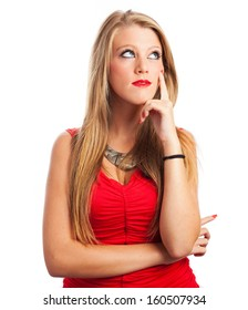 pretty blond young girl thinking wearing a red night dress isolated on a white background