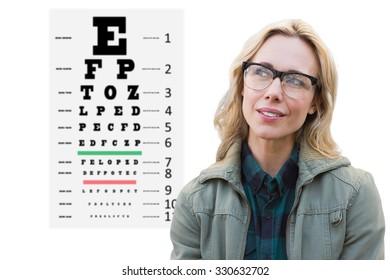 Pretty blonde thinking against eye test