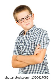 Pretty boy with glasses isolated on white background