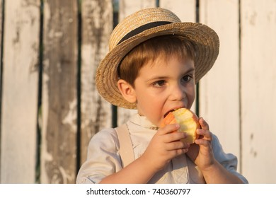 Pretty boy in the straw hat as Tom Sawyer in front of the wooden fence. The boy eating red apple.