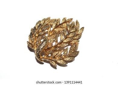 Pretty Brooch Jewellery On White Background