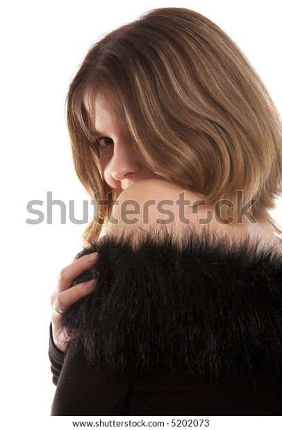 Pretty  brunette woman in black dress on white background