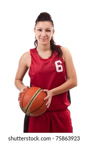 Pretty brunette woman holding Basketball in hand and smiling isolated on a white background