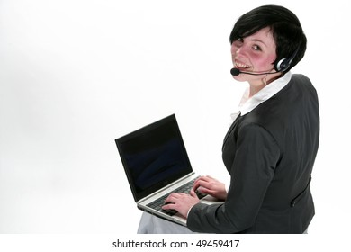 Pretty business lady with a laptop in black phoning isolated in a white background