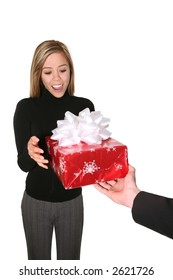 A pretty business woman receiving a gift from a man