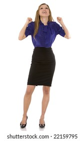 pretty business woman wearing dark outfit on white