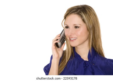 pretty business young woman talking on the phone