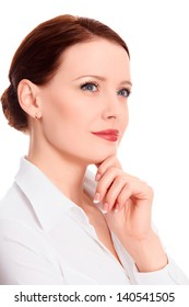 Pretty businesswoman against the white background, copyspace