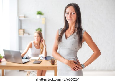 Pretty businesswoman looking at camera and smiling.