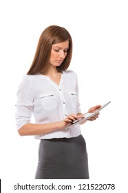 Pretty businesswoman touching screen on Pad Tablet PC