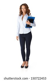 Pretty casual woman holding folders, smiling. Full size.