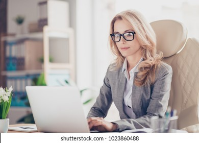Pretty, charming, blonde woman using, browsing, typing, searching, working, expertising online on computer, sitting at desktop in workstation, using wifi internet