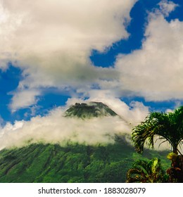 A pretty Close up of the Arenal Voclano located in La fortuna de san carlos in alajuela province - Costa Rica