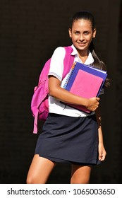 Pretty Colombian Female Student Wearing Uniform