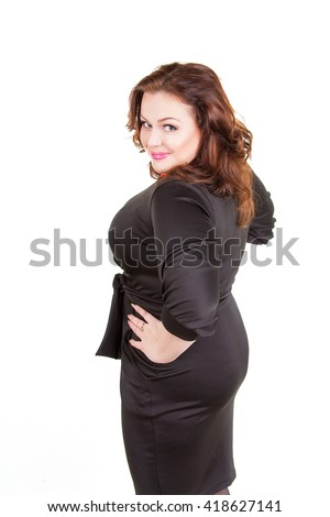 Pretty Confident Chubby Girl Black Dress Stock Photo Edit Now