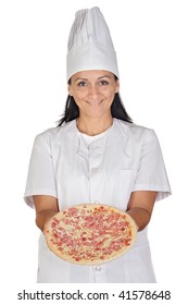 Pretty cook girl with a delicious pizza isolated on white background