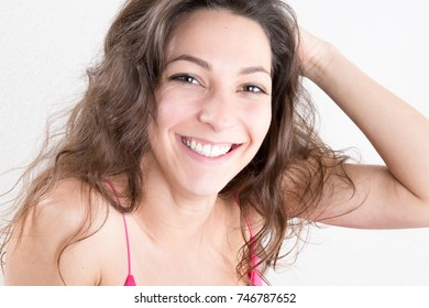 pretty cute girl hand on hairs smile happy