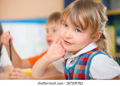 Pretty cute little girl portrait at daycare