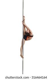 Pretty dancer doing vertical split on pylon