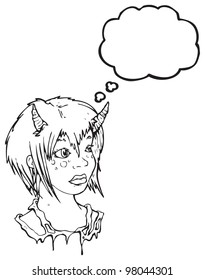 pretty devil girl with thought bubble