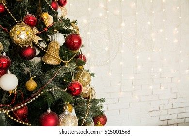 Pretty dressed up Christmas tree closeup. Background for the holiday with space for text