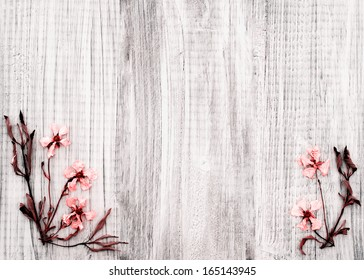 Pretty Dried Rock Rose Flowers on Rustic White Wood Background with room or space for text, copy, or words in the center area.  Horizontal with infrared treatment