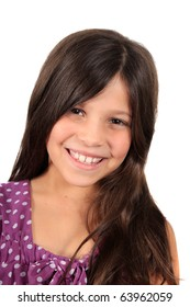 Pretty eight year old adolescent multi ethnic girl with long dark hair  with  a white background