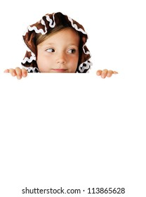 A pretty elementary gingerbread girl looking to the right as she peeks over a white sign (left blank for your text).  On a white background.