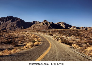 Pretty Empty Mojave Desert Highway in Southern California, USA.