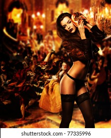 pretty erotic sexy woman with mask on masquerade ball