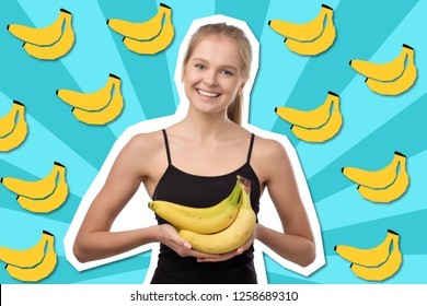 Pretty european blonde woman holding several bananas in her hands and smiling standing on drawn banana pop art background. Concept of healthy fruit diet