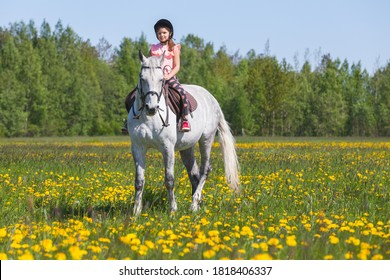 Pretty European little girl rides a white horse breed Orlov trotter at sunny day