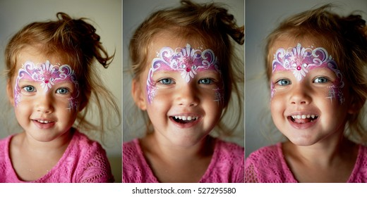 Pretty exciting blue-eyed girl of 2 years with a face painting. Collage